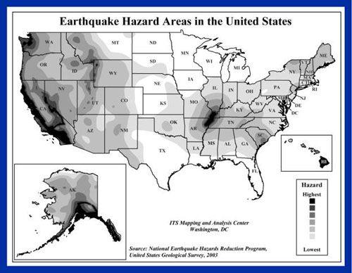US Fault Lines GRAPHIC Earthquake Hazard MAP  Major