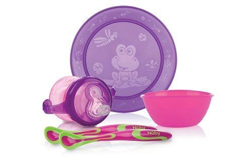 Set de vajilla Fun Feeding. Color Rosa/Violeta | 9+ meses