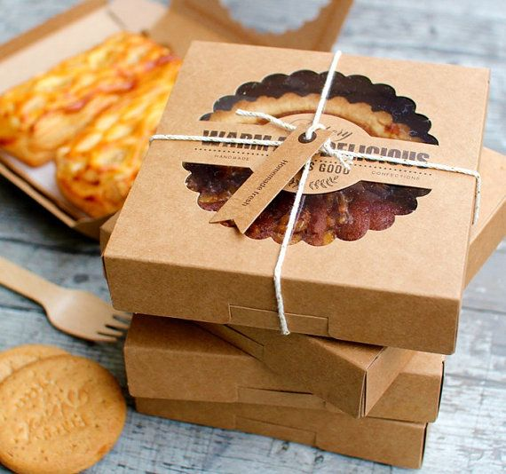 these collapsible boxes are great for wrapping up fancy handmade pie, biscuits or small tea cakes. you can decorate them with ribbons, stamp, drawing, name tags or small ornaments. includes: 5 boxes with 5 trays available colour: kraft size: W 14cm x L 14cm x H 4cm   (Conversion 14  cm = approx 5.51 inch / 4 cm =approx 1.57 inches) if you need more please send me a convo.  I'll create a reserved listing for you. happy wrapping!