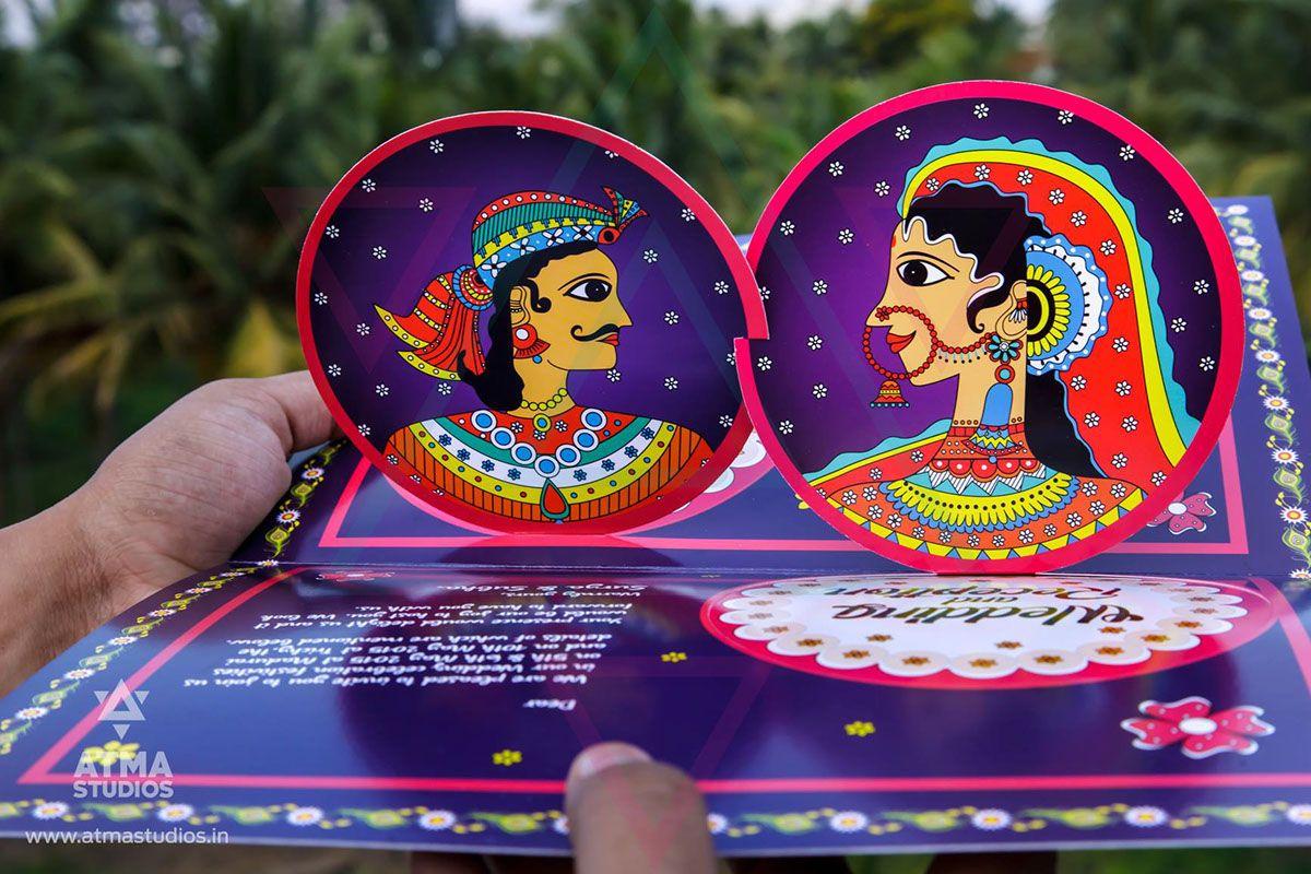 telugu wedding invitation cards online%0A Pattachitra  u     Madhubani Wedding Invite Design by Atma on Behance