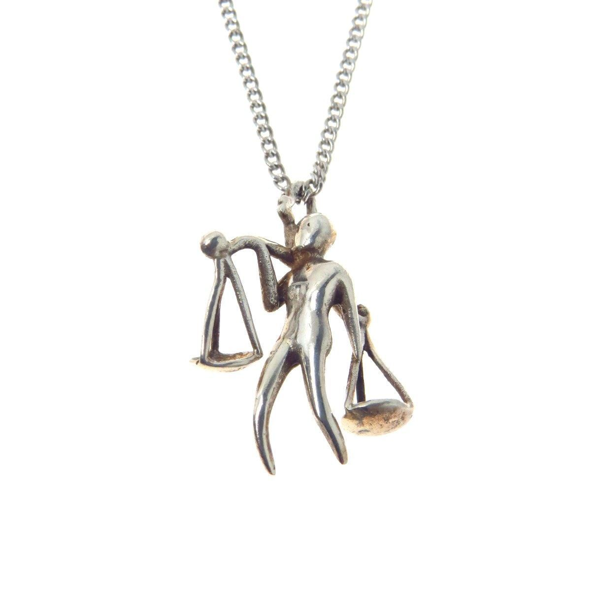 Modernist Sterling Silver Libra Sign Pendant Necklace Products
