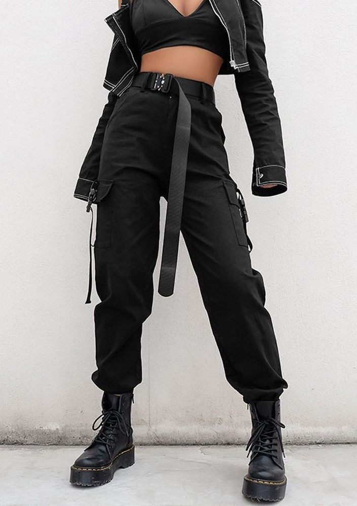 Photo of High Waist Loose Black Trousers