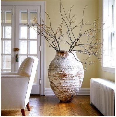 large pots with whimsical sticks living room. Black Bedroom Furniture Sets. Home Design Ideas