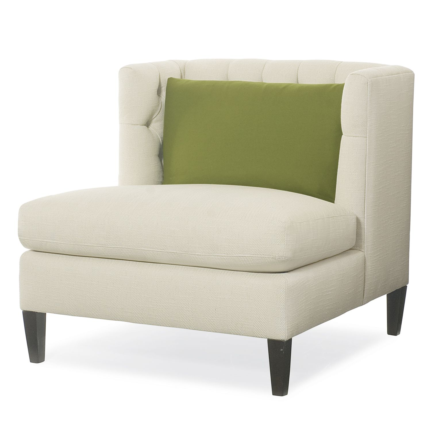 abbey armless chair modern tufted chair in white kiwi green accent pillow