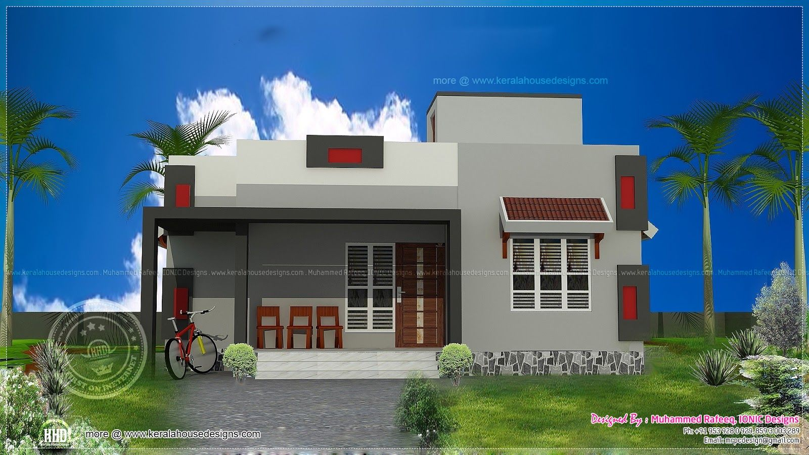 900 sq ft single floor home house elevation indian for Single house elevation