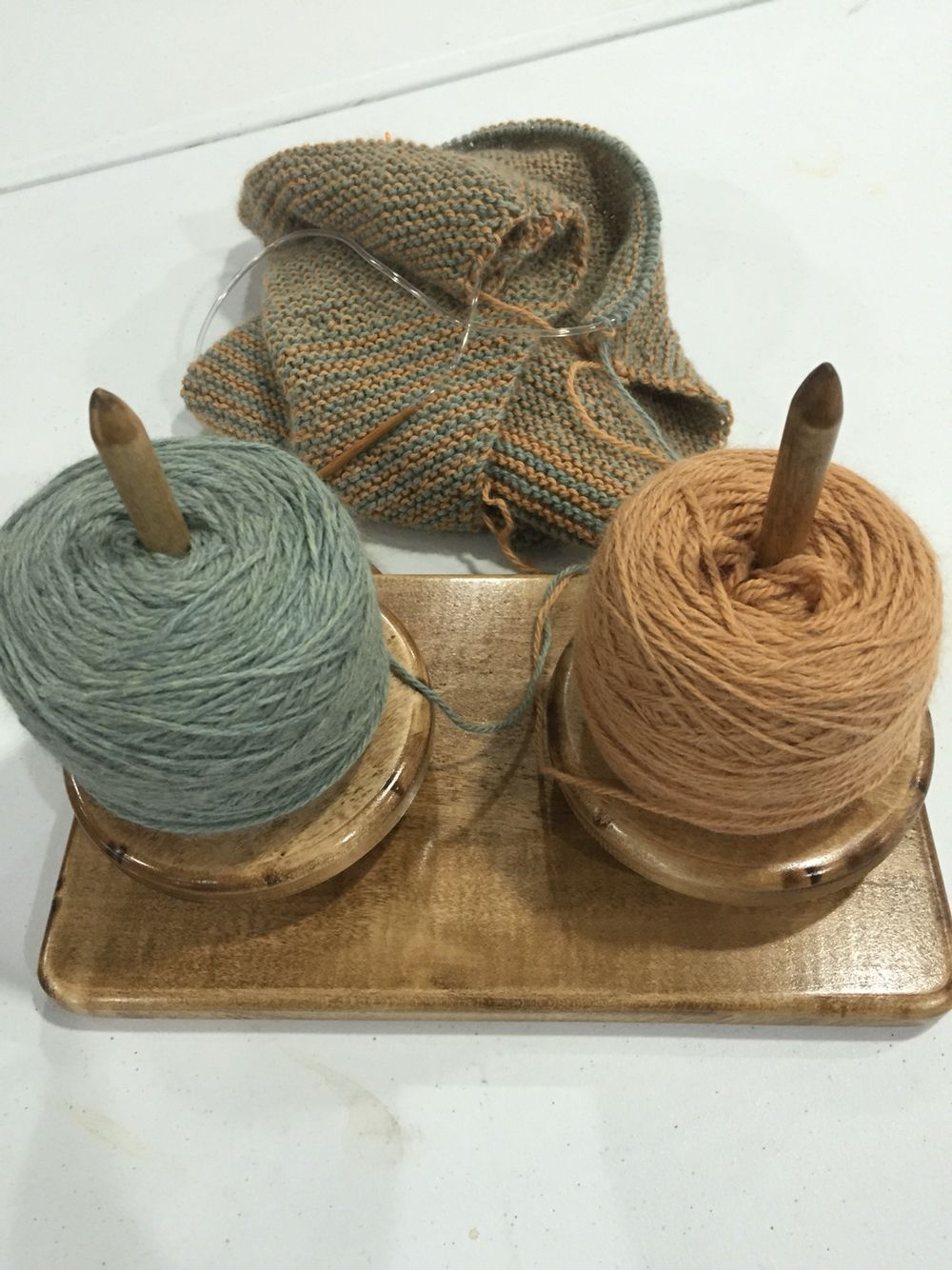 This two skein or Hank holder is perfect for all that two color work! It's hand crafted by Criative Threads and available in their Facebook page or by emailing Yarns@criativethreads.com