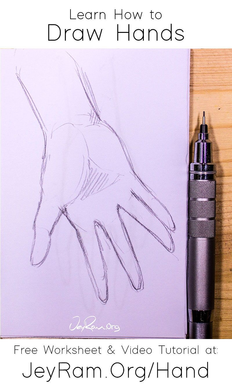 How To Draw Hands Free Worksheet Video Tutorial In 2020 How To Draw Hands Drawing Tutorial Face Learn To Draw