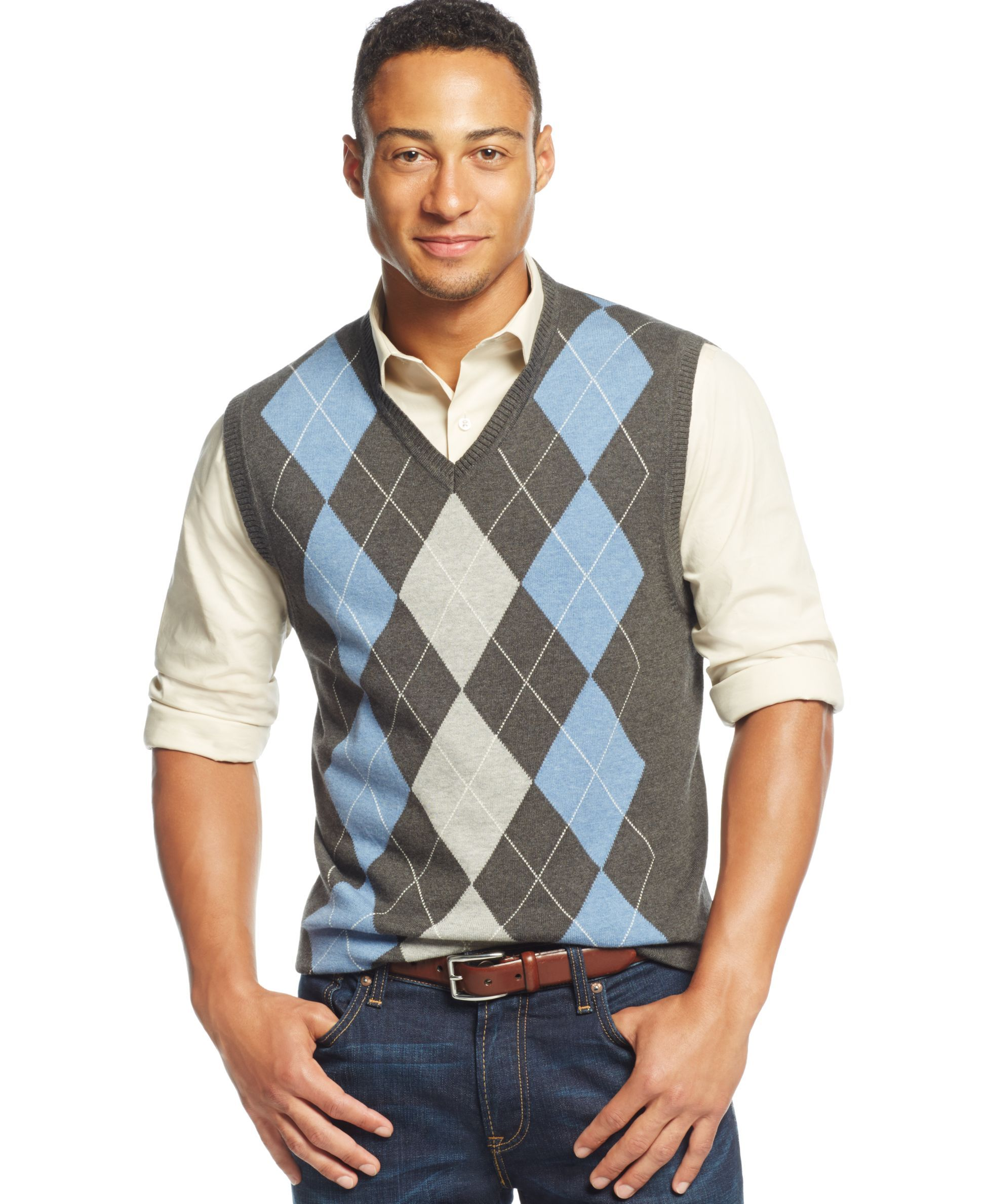 Club Room Big and Tall Cotton Argyle Vest, Only at Macy's