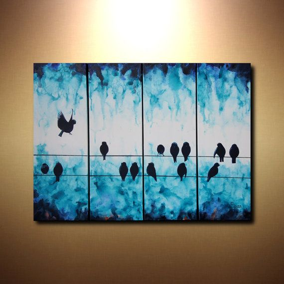 Large abstract art bird on a wire painting 24x32 for Multi canvas art ideas