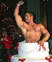 man jumping out of cake