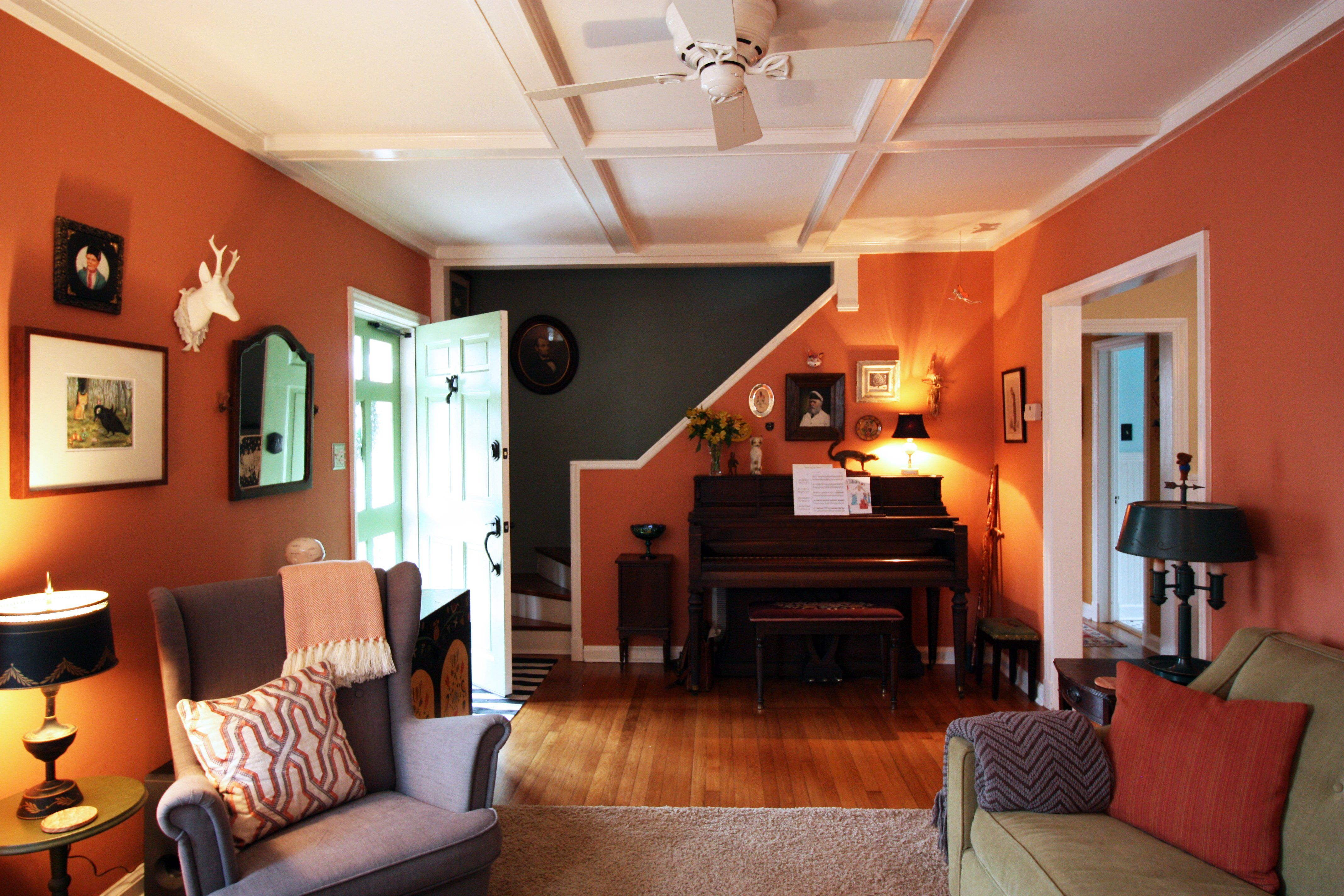 Jen & Andrew's Colorful Bungalow | Living room orange ...