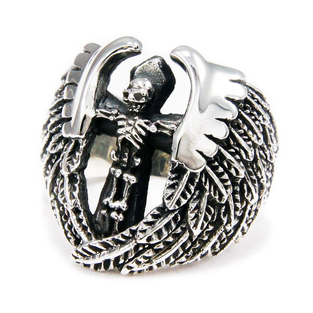 with silver skull rings biker bub gothic wings ring sterling rocker pin skeleton