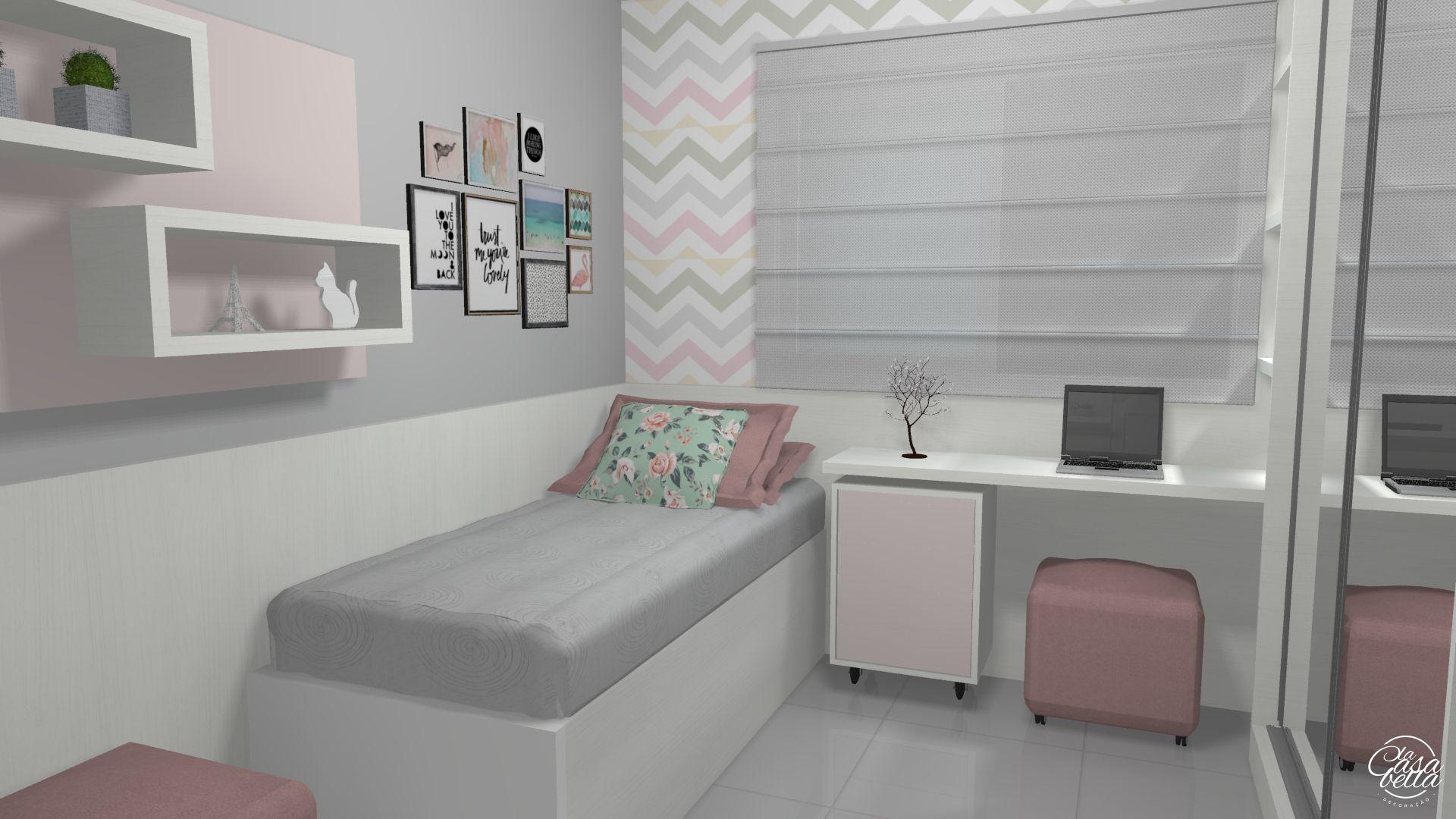 Quarto Menina Rosa Milkshake Portif Lio De Projetos Pinterest  ~ Quarto De Meninas Simples E Pequeno