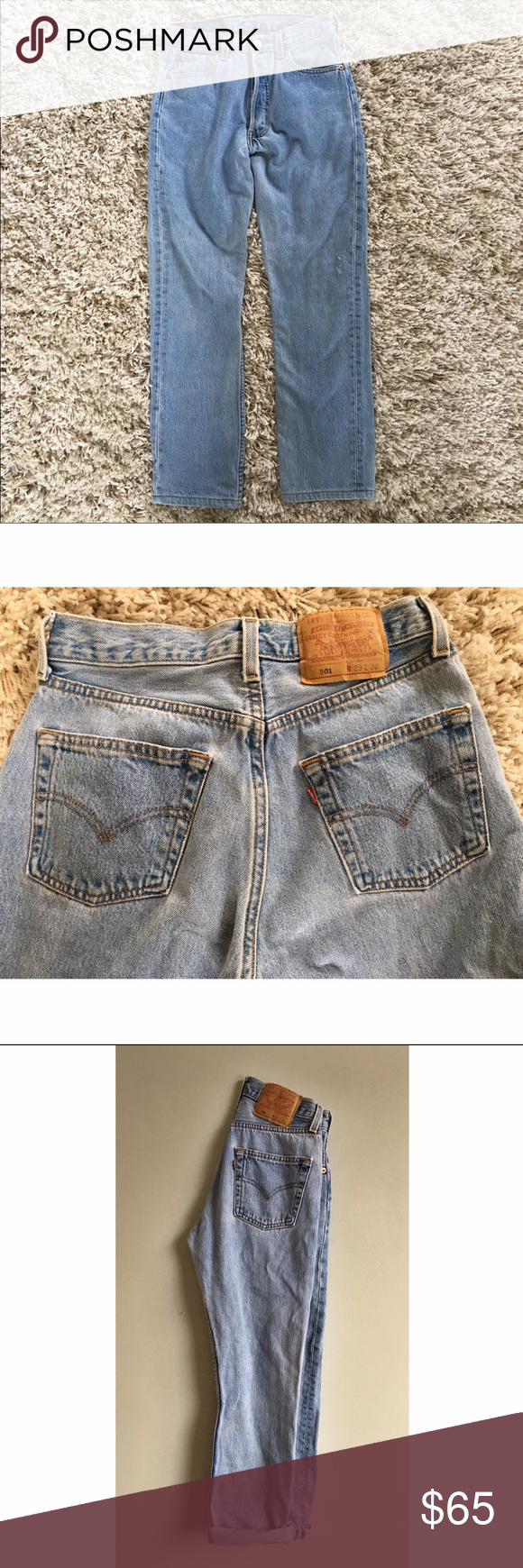 Vintage women's Levi's 501s. Slight slate blue. These vintage 501 Levi's are in great shape, have a super flattering and hip fit. Light slate blue. Size 29 W 30 L. They've shrunk from being washed so might be a bit smaller than a 29. Levi's Jeans Ankle & Cropped