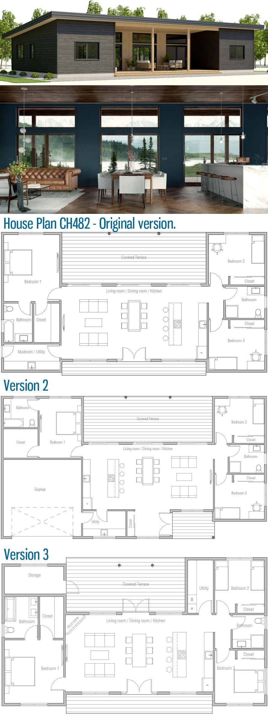 Small House Plan 1st Version But Turn The 3rd Bedroom Into The Kitchen Remove That Wall Set Two S Container House Plans Home Design Floor Plans House Plans