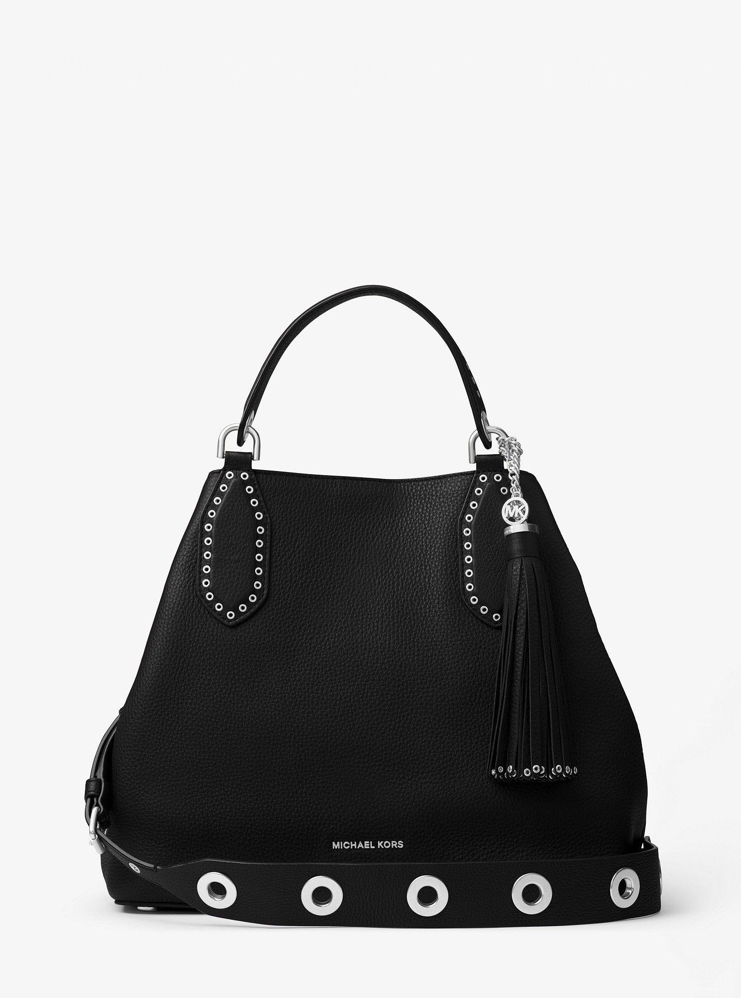 Michael Kors Brooklyn Large Leather Satchel - Black  8e62bef3015e0