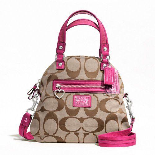 Coach Daisy Signature Foldover Satchel Purse Handbag Khaki Pink F22941