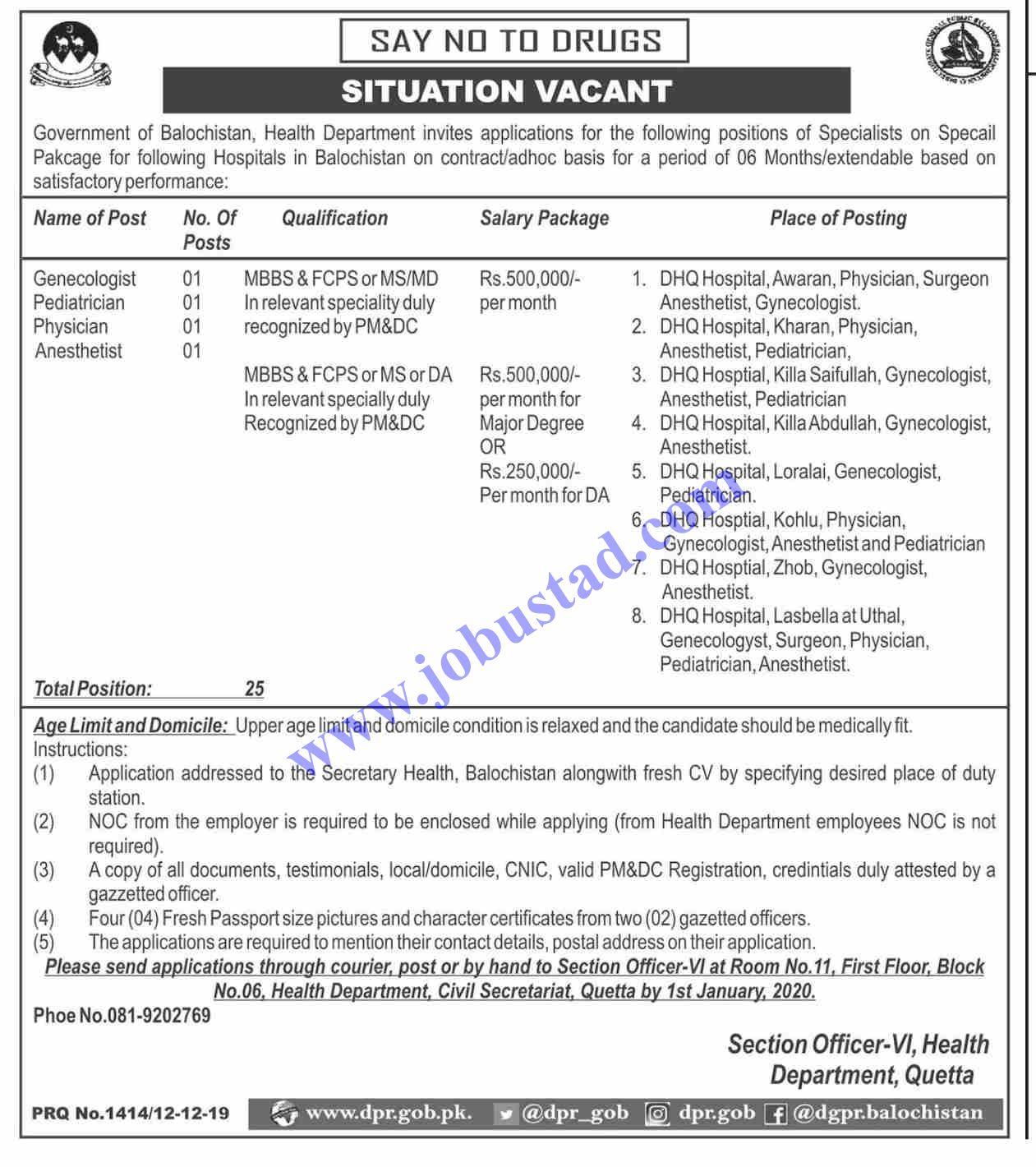Health Department Balochistan Jobs Latest 2020 DHQ Jobs