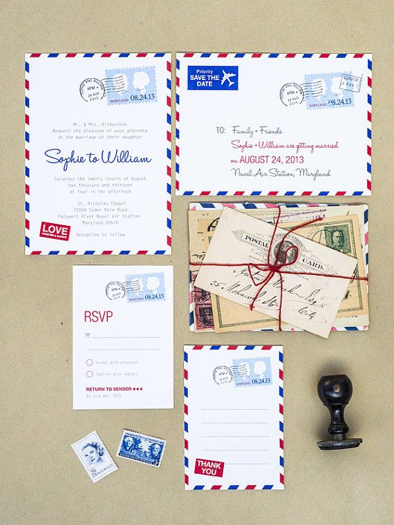Airmail Wedding Invitation Set Of 4 Printable Template Great Work