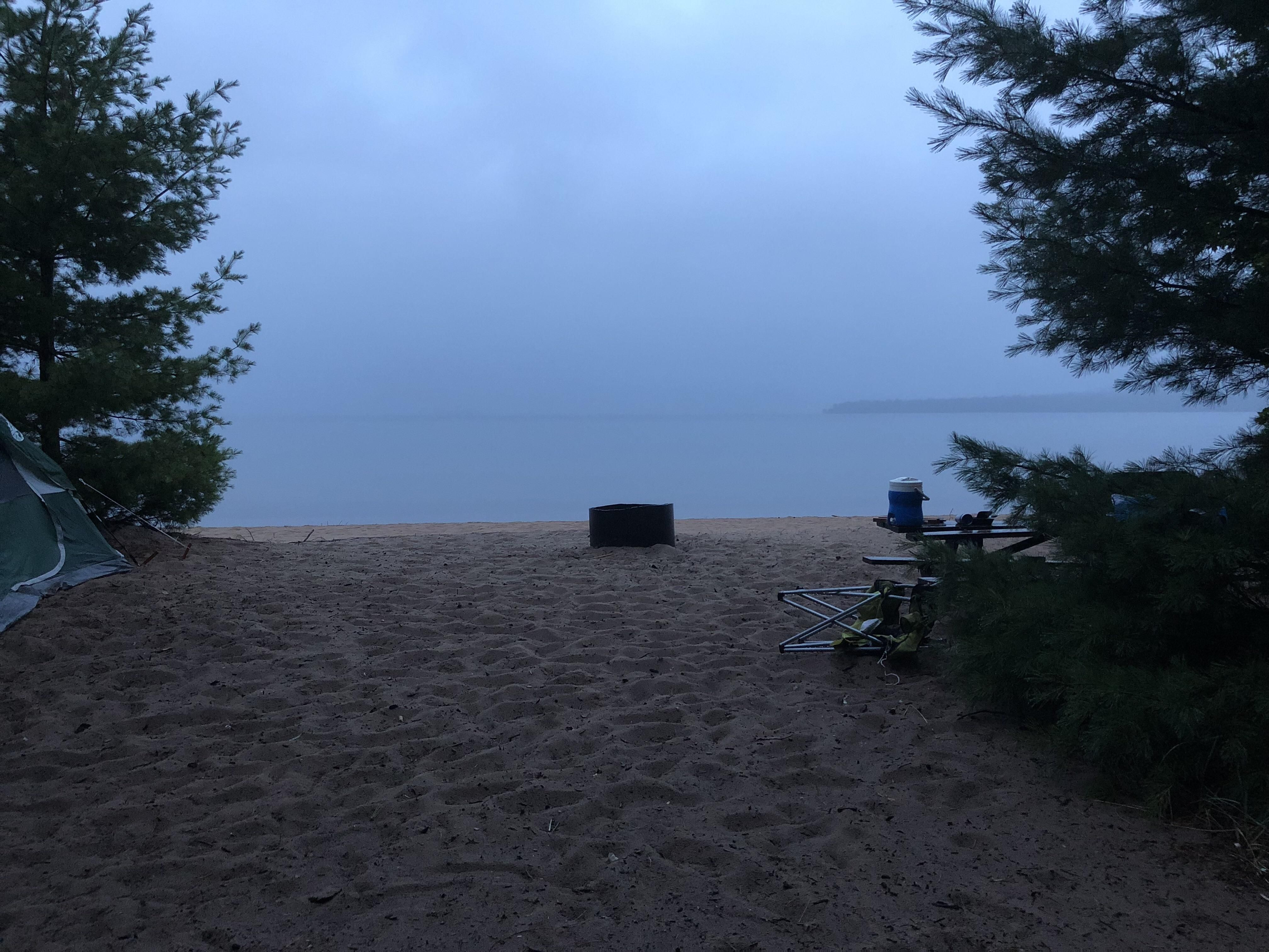 Camping near Lake Superior. Early morning in August. # ...