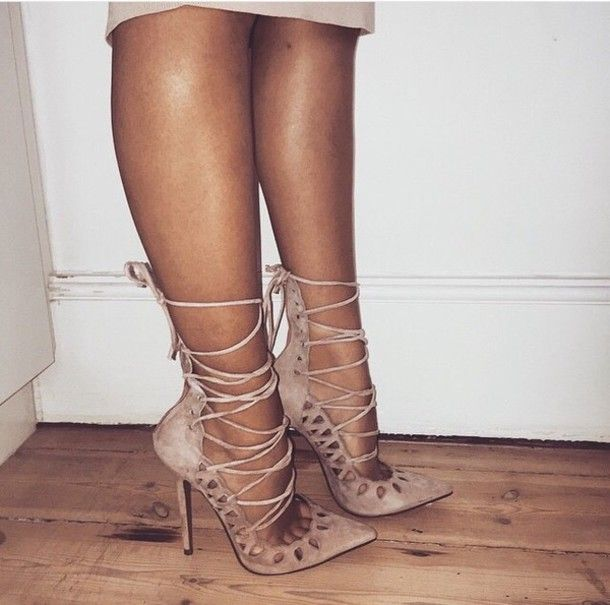 shoes nude pumps high heels stilettos strappy brown high heels ...