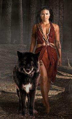 MUJER NATIVA Y LOBO (Native American WOMAN AN WOLF)