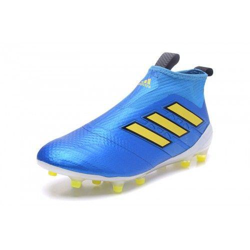 cheap for discount 749ac 45fea Baratas 2017 Adidas ACE 17 PureControl FG Hombre Azul Amarillo Botas De  Futbol