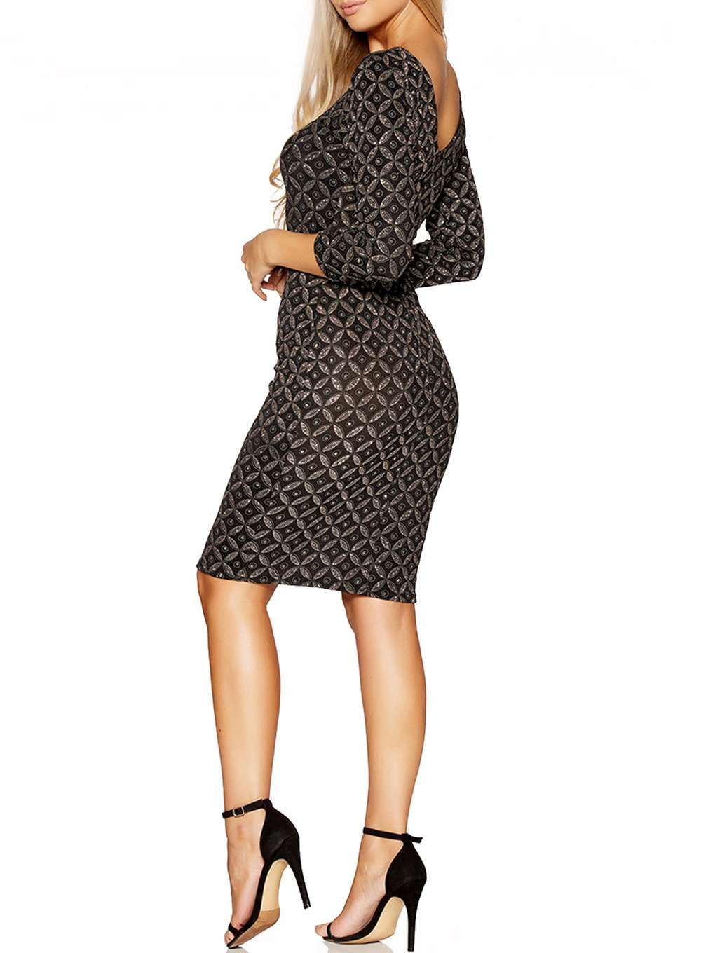 Womens quiz black and bronze print dress black products