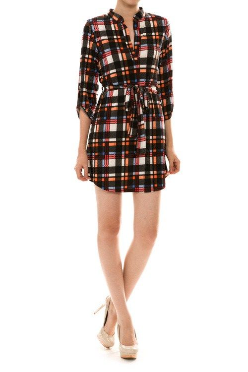 Front Tie Plaid Shirt Dress - Lg only - $55 HUGE sale Tues/Wed .. 40-50% off clothing, leggings, shoes & scarves!!! Come in to see all the specials. Act fast.. we will sell out!!