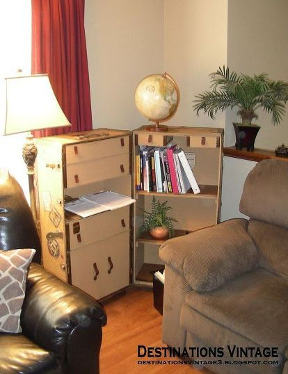 Wardrobe Trunk Upcycled Into Campaign Style Bookcase images