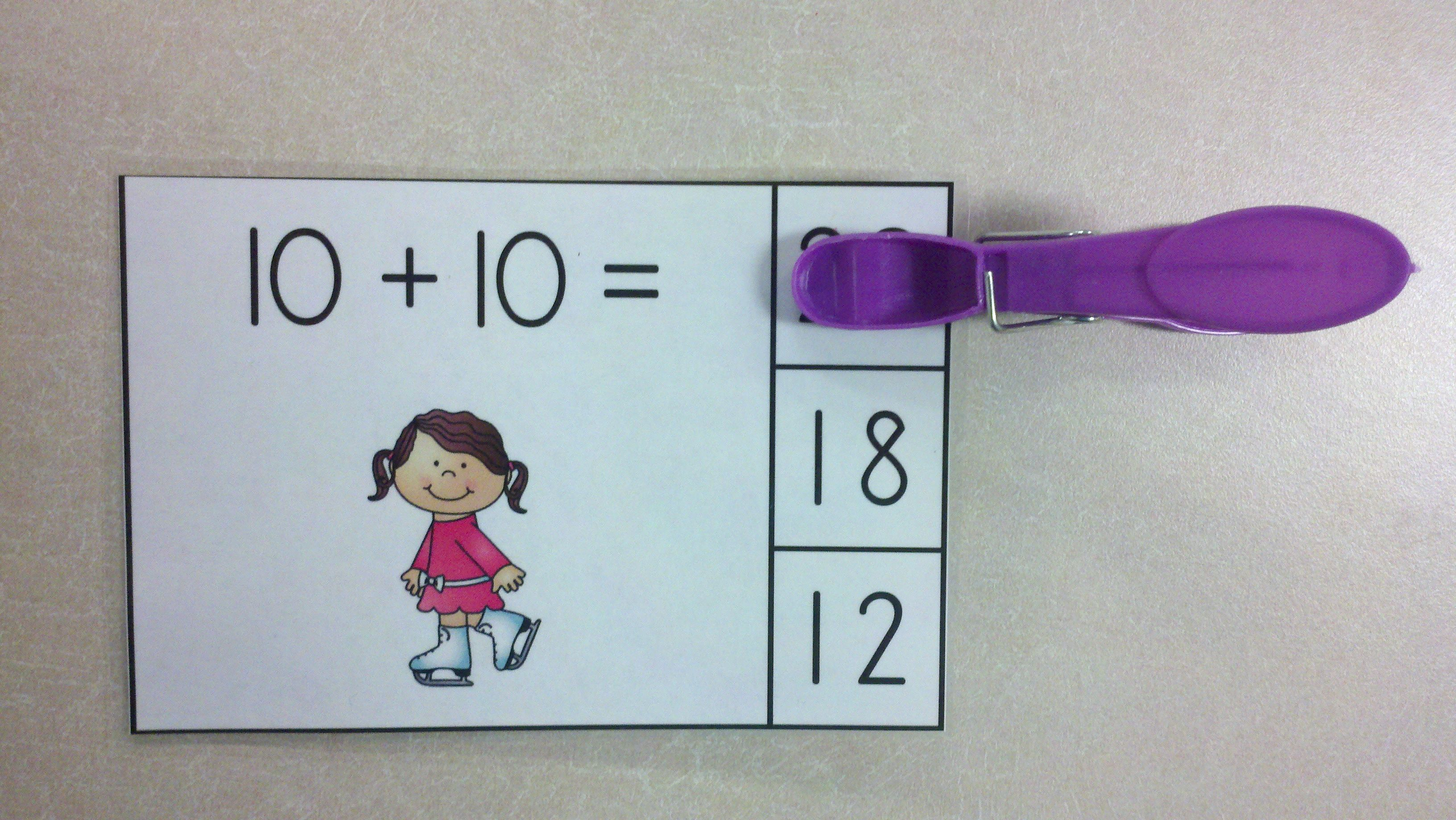 Winter Sports Fun Doubles Addition Math Centers Sums of 0 to 20 ...