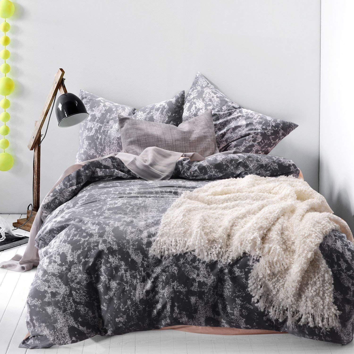 Wake In Cloud Dark Gray Duvet Cover Set 100 Cotton Bedding White Pattern Printed On Grey With Zip Duvet Cover Sets Gray Duvet Cover Dark Grey Duvet Covers