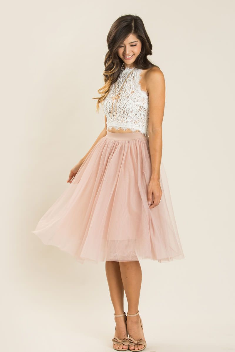 Jacqueline Dusty Rose Tulle Midi Skirt  Outfit hochzeit, Kleid