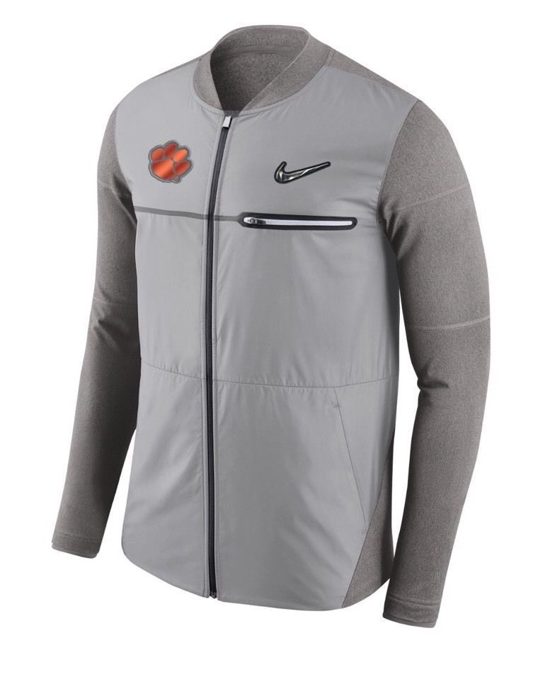 e6351d48a3e9 Nike Clemson Tigers CFP Football Playoff Sideline Hybrid Jacket Mens Grey   Nike