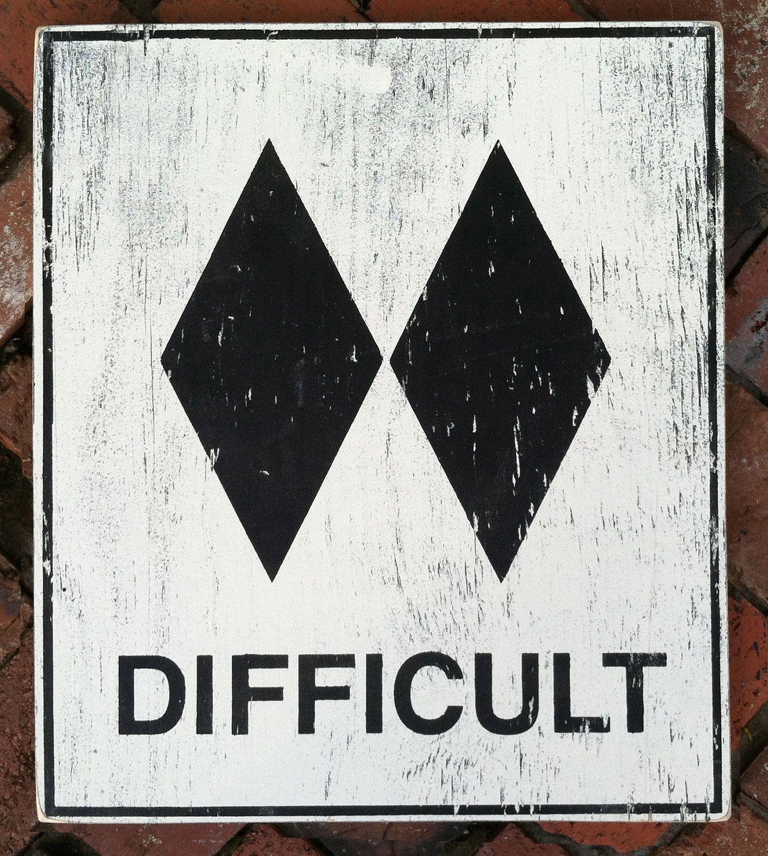 Ski slope sign difficult x via etsyfashion