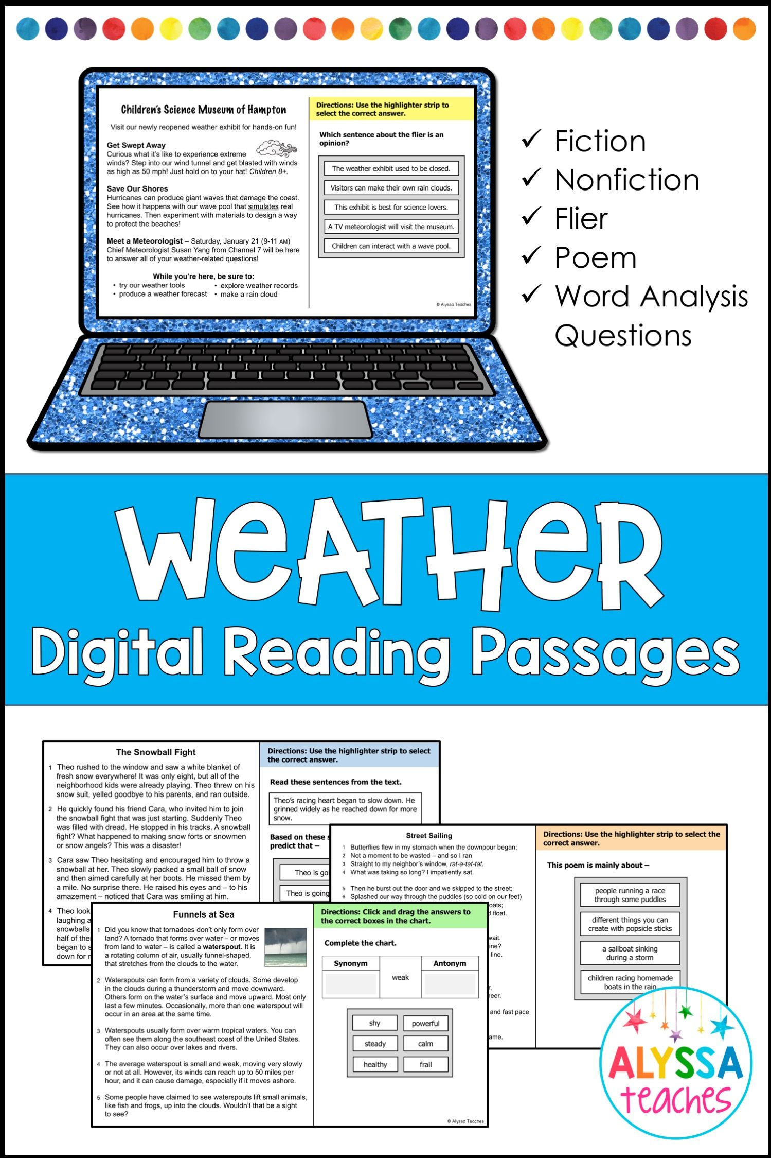 Weather Reading Passages And Questions Digital And Print