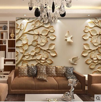 Large 3d wall paper leaves mural
