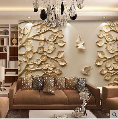 european wallpaper mural large 3d wall paper leaves for tv. Black Bedroom Furniture Sets. Home Design Ideas