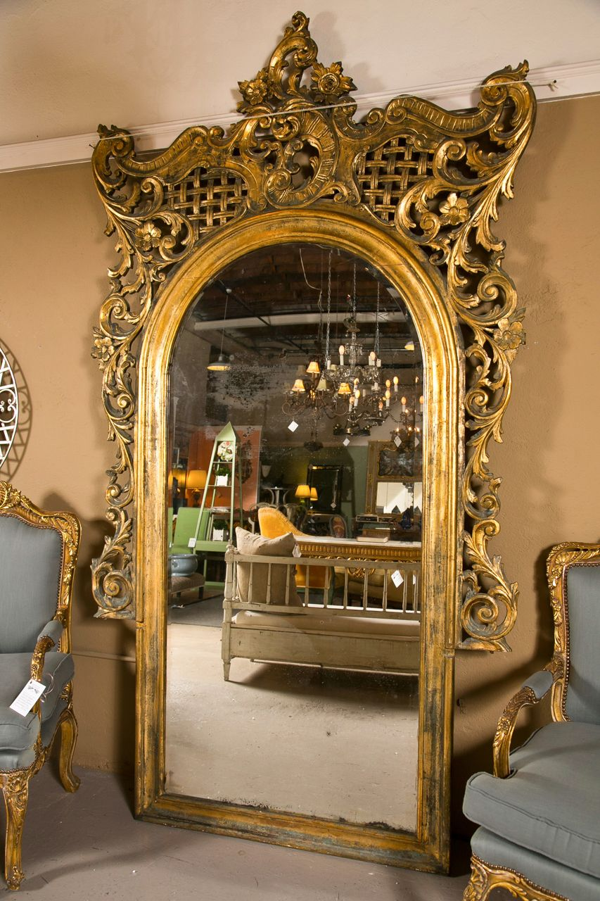 19th Century Monumental French Rococo Floor Mirror | Floor mirror ...