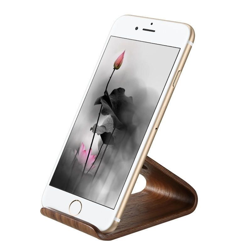 FLOVEME Natural Wooden Portable Phone Holder Desktop