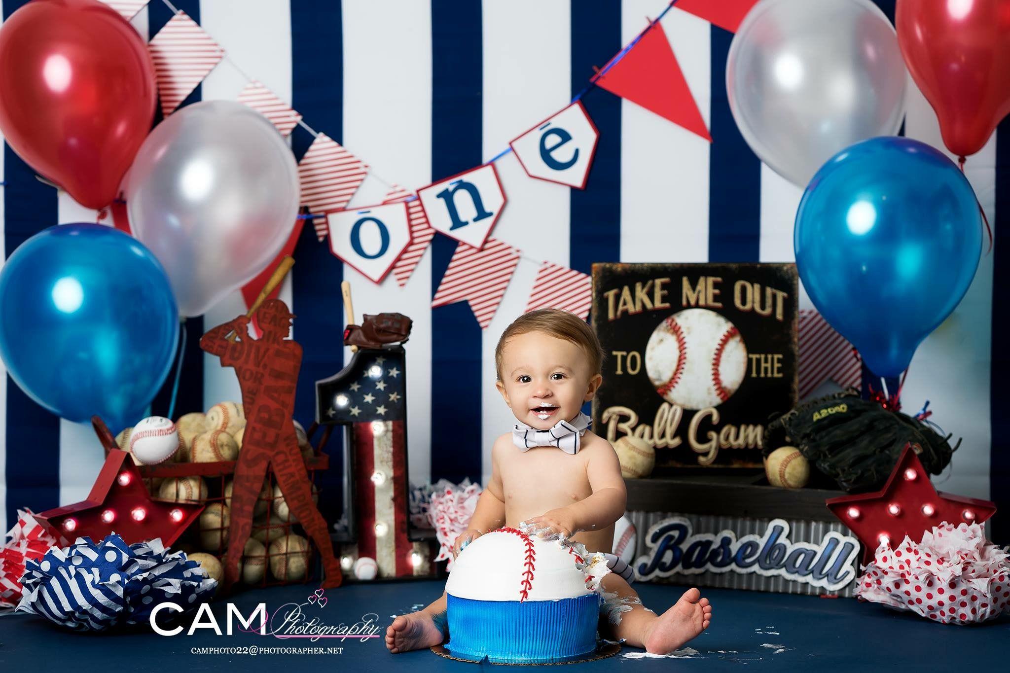 Baseball First Birthday Photo Shoot