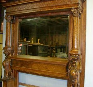 Antique Fireplace Mantels With Mirrors Original Beveled Mirror