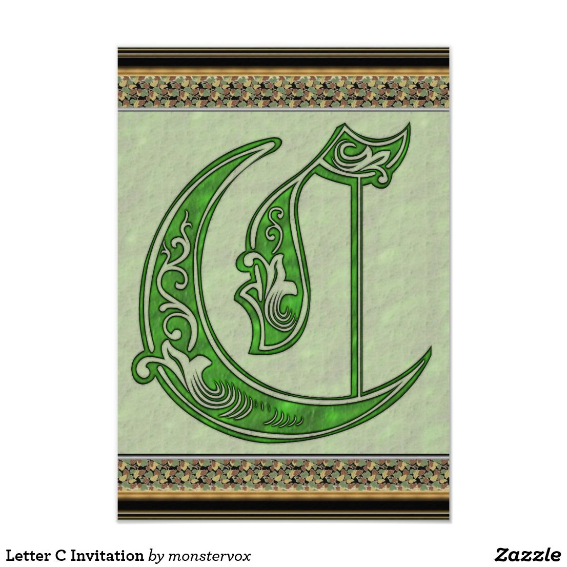 Letter C Invitation Alphabet Letter Art Embossed Card