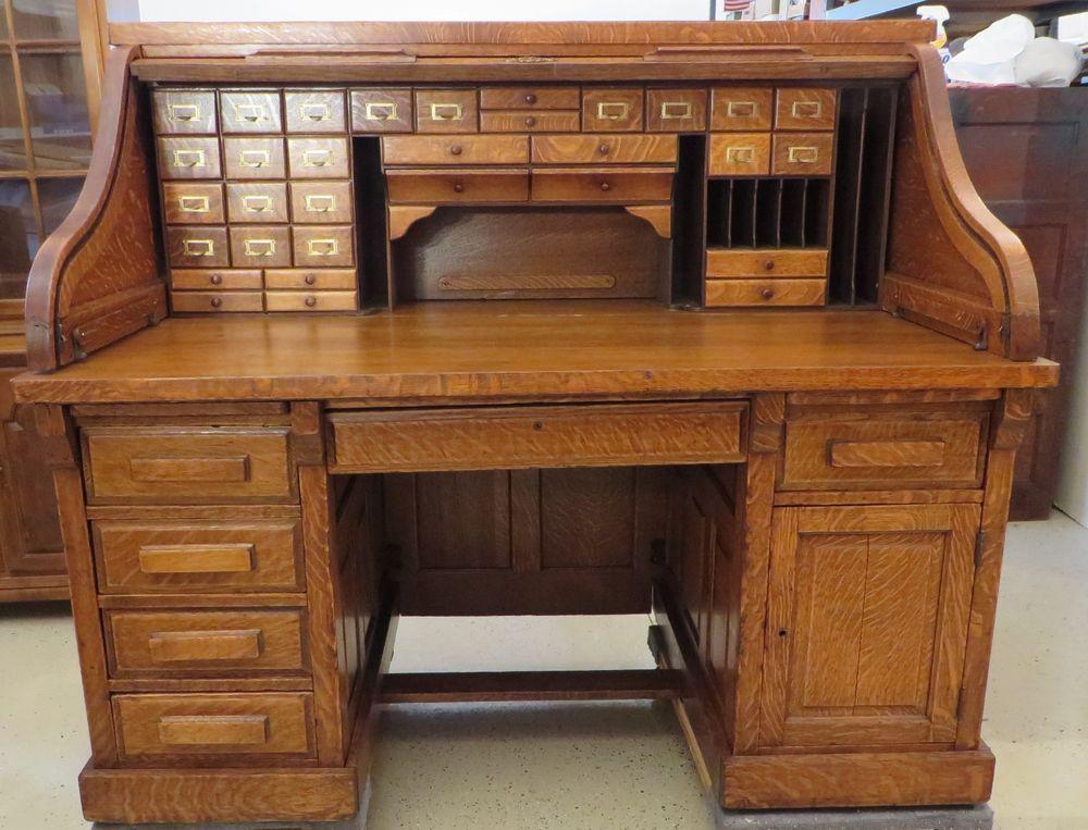 Antique Serpentine S Roll Top Desk By Shelbyville Desk Co Ind Usa Shelbyvilledeskcompany Ebeniste