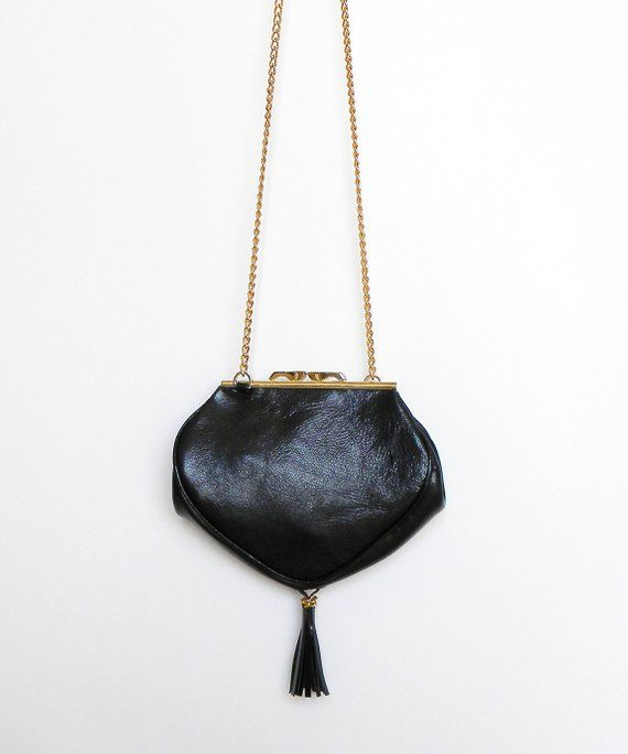 5755996ddd56d Black leather handbag small leather black purse Heart shape evening bag  Small leather bag Dalfia