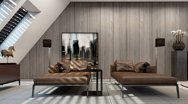 relax-ecke-dachschraege-leder-recamiere-holz-wandverkleidung - wohnideen wohnzimmer holz