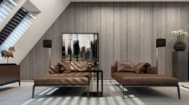 Relax Ecke Dachschraege Leder Recamiere Holz Wandverkleidung