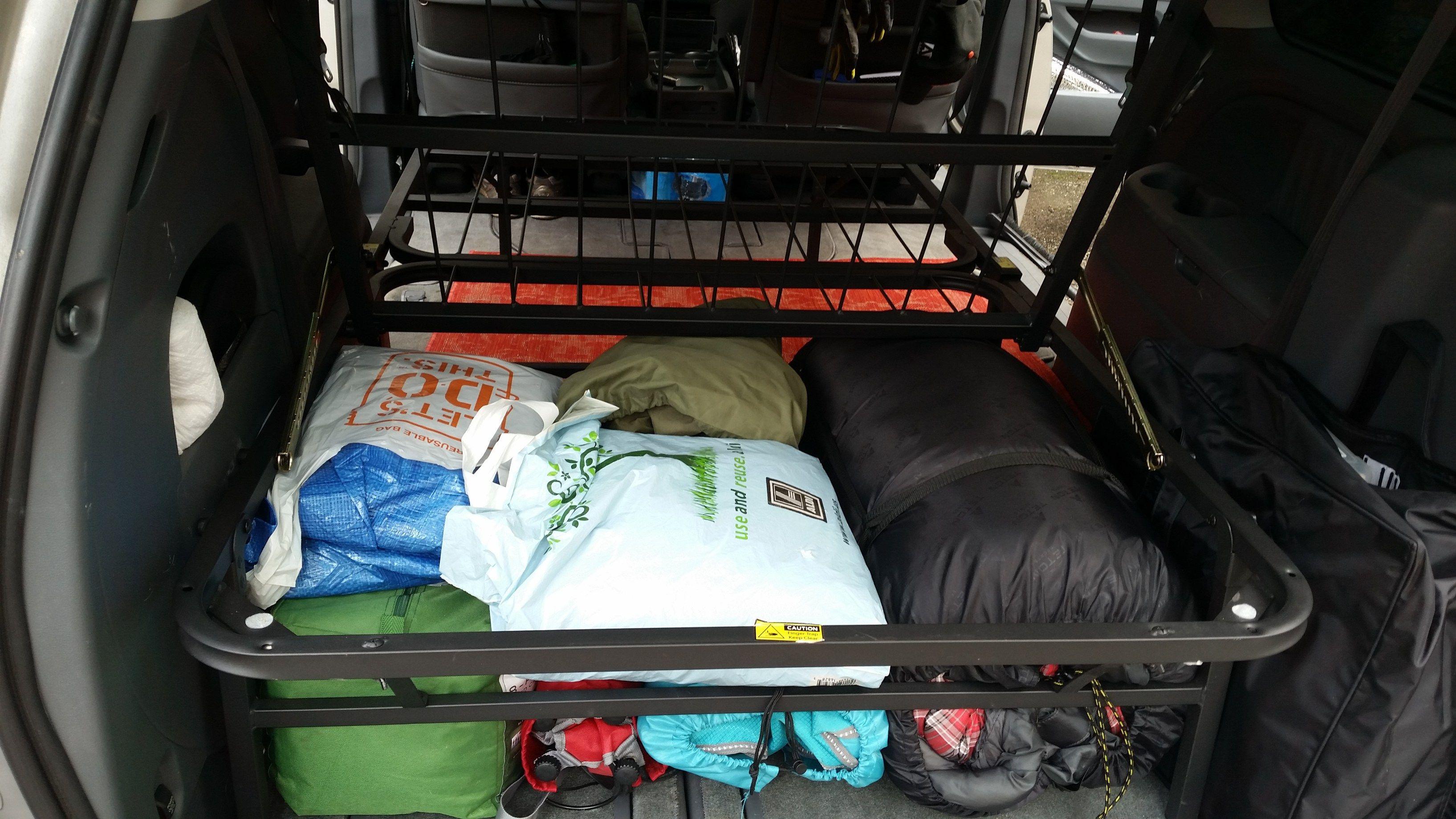 All the camping gear under the bed Mini van, Minivan
