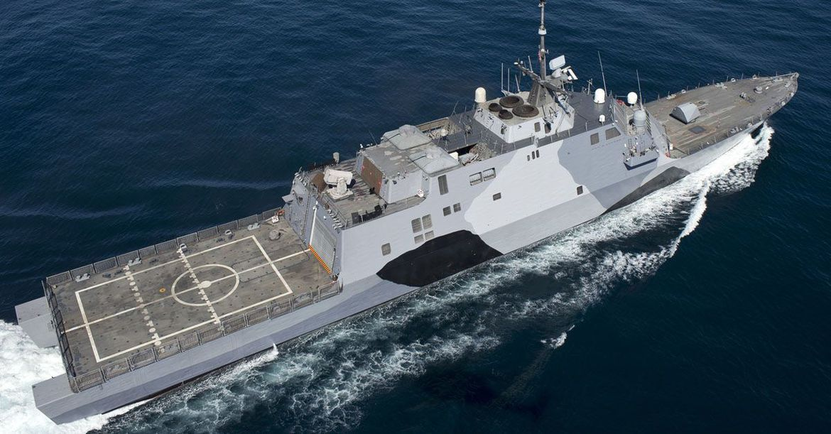 The USS Freedom (LCS-1), designed by Lockheed Martin and commissioned in 2008, is the first of a class of small, multipurpose ships that operate in the littoral zone -- that is, close to shore.