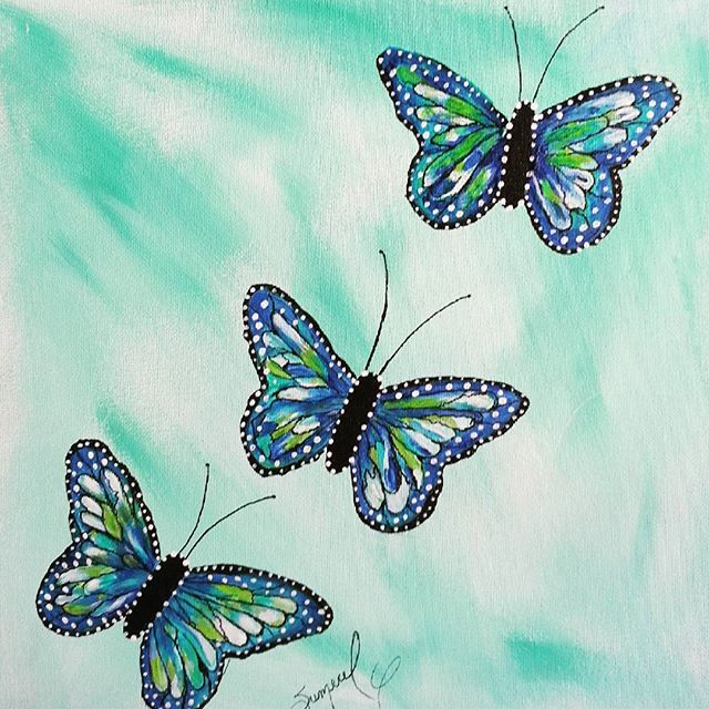 "Acrylic painting on canvas. Title: ""July Butterflies."" Painting outside today. Florida's heat takes getting used to, but I enjoy it! :-) I will offer this design on a greeting card, but should I create a fashion clutch, I would probably replicate and layer the butterflies over each other to make a.really cute bag design! :-) What fun! All available to purchase in my new store, https://www.thepaintedlabel.com. #butterflydecor #butterfly #butterflydesign #homedecoration #homeaccents…"